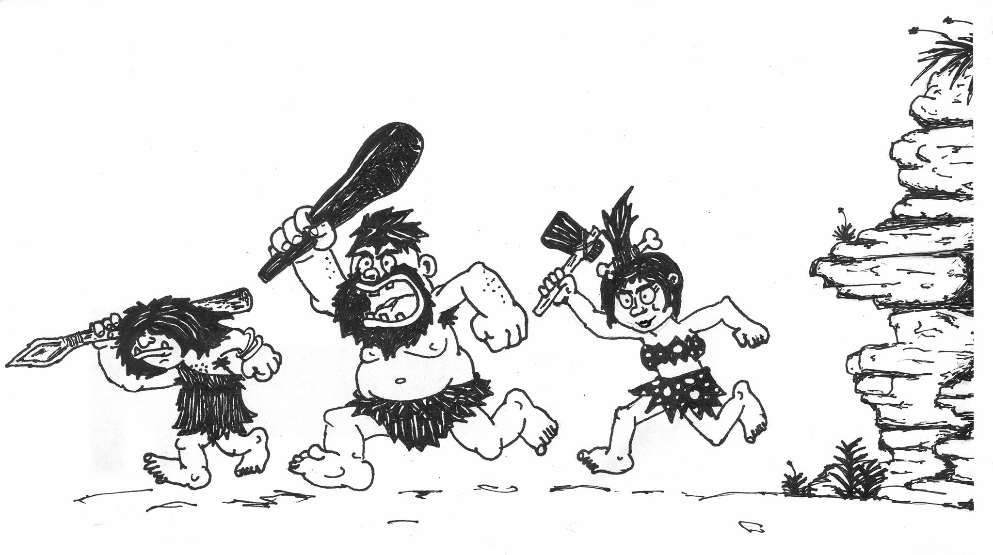Three caveman cartoon figures